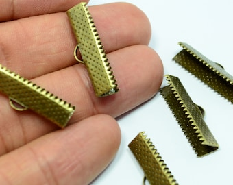 40 Pcs Antique Bronze 25 mm Ribbon Crimps End