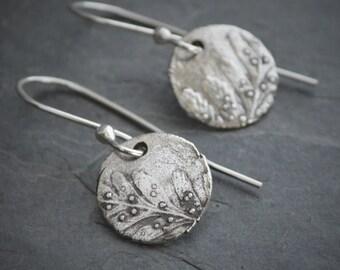 Fern Earrings, Fine Silver Earrings, Dangle Earrings, Round Earrings, Fern Frond, Earthy Earrings, Botanical Earrings, Plant, Nature