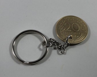 French Liberte 20 Centimes Coin Key Chain