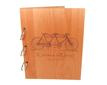 Tandem Bicycle Wedding Guest Book Photo Album LARGE SIZE - Real Wood Covers Personalized