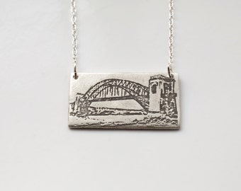 New York City Jewelry - Queens Necklace - Silver NYC Jewelry - Queens Jewelry - Hellgate Bridge - Skyline Necklace - NYC Skyline