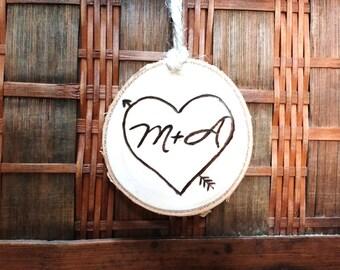 Custom Couples Ornament, Rustic Couples Ornament,Couples Custom Valentine Gift, Wood Valentine