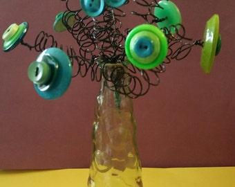 handcrafted green button flower arrangement