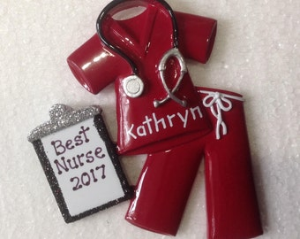Personalized Christmas Ornaments-Burgundy Scrubs - Nurse, Doctor, RN, CNA  Healthcare Professional, Hospital Technician gift