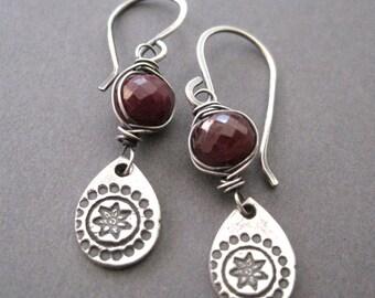 Red Ruby Earrings, Fine Silver Dangles, July Birthstone Earrings, Boho Style Jewelry