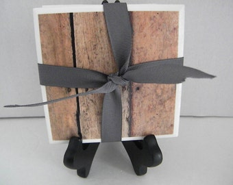 Distressed, Barn Wood Rustic Set of 4 Drink Coasters Great Gift Idea!