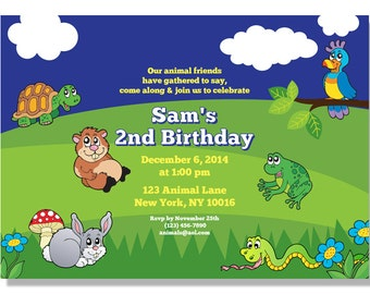 Party Animals Birthday Invitations - Digital File