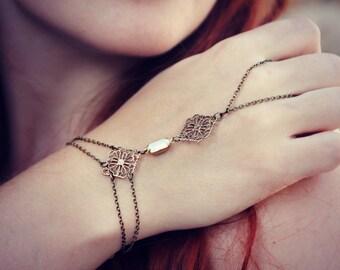 white opal slave bracelet, opal hand chain, hand piece, bridesmaid gift, wedding accessory