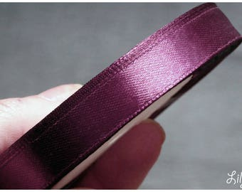 1 meter of Ribbon in Eggplant Purple plum satin 12mm