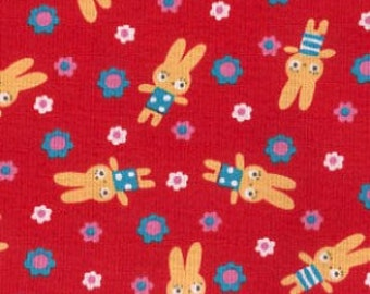 Koko Seki for Lecien, Tiny Prints, Bunnies and Flowers in Red 40136.30 - 1 Yard