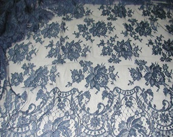 """No. 300 DENIM BLUE French Solstiss Chantilly Lace, Dbl Scallop, 53"""" x 5.5 Yards"""
