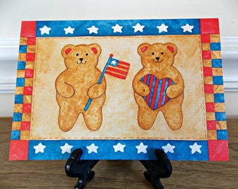 Patriotic Card, Greeting Card, Teddy Bear, Current, Vintage, Folk Art, Craft Supplies, Pamela Berlute Fouts, Patriotic Folk Art, Blank Card