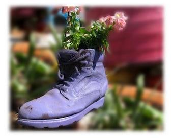 flower planter - outdoor planter , Patio Planter - Shoe planter -   Garden decor- Garden art -  # 4
