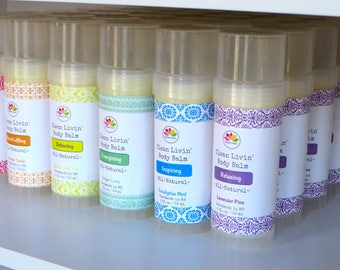 Clean Livin' Body Balm Twist-up Stick with All-natural Ingredients: Coconut Oil, Soy Wax, Shea Butter, Cocoa Butter, Essential Oils