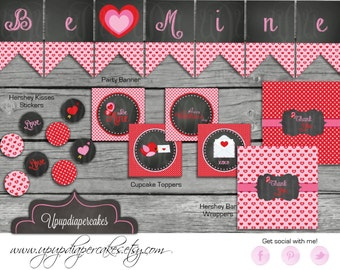Valentine's Day Party Package--Valentines Party--Printable Decor--Digital Party Pack--DIY