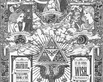 Legend of Zelda - The Three Goddesses of Hyrule - signed museum quality giclée fine art print