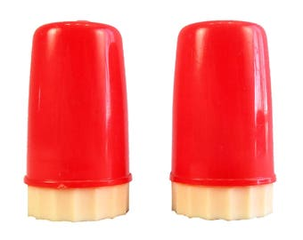 Advertising Salt and Pepper Shakers Mid-Century Red Plastic Give-a-Way Illinois