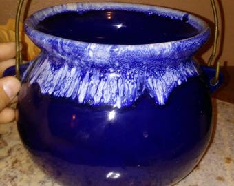 Rare blue drip glaze beanpot figural planter with original wrought iron handle for carrying or hanging