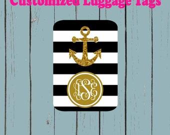 Black and White stripe print Monogram Gold anchor Luggage Tag - Luggage Tag Monogrammed