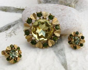 Vintage Avon Yellow and Green Rhinestone Flower Brooch and Earring Set