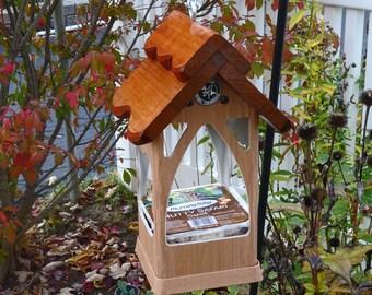 Hanging PVC bird feeder, unique modern tray feeder, outdoor,suet holder,fully functional, Handmade in USA, ez clean, ez fill, open viewing