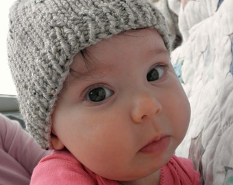 hand knit baby hat -sand - size 0 - 3 months, great photo prop
