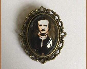 Edgar Allan Poe Inspired Bronze Cameo Brooch