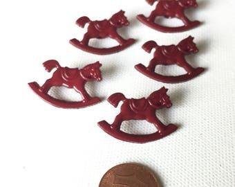 5 Rocking Horse Button, Shank, Novelty Buttons, Christmas Rocking Horse, Burgundy