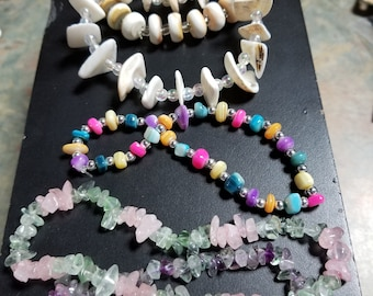 Rivershell Rondelle Shells Rose Quartz Fluorite Crystal Ankle or Bracelet