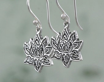Sterling Silver Lotus Earrings – Lotus Jewelry – Sterling Silver Flower Earrings – Yoga Jewelry – Sterling Silver Earrings – Flower Jewelry