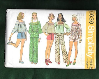 Vintage 1970's Simplicity 5639 Boho Hippie Peasant Square Neckline Yoke, Loose Bodice And Sleeves, Pants, And Shorts, Size 12