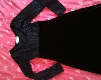 Vintage black velvet babydoll dress raised waist