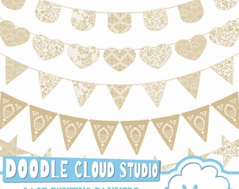 Natural Ecru Lace Burlap Bunting Banners Cliparts multiple Beige lace texture flags Transparent Background for Personal & Commercial Use