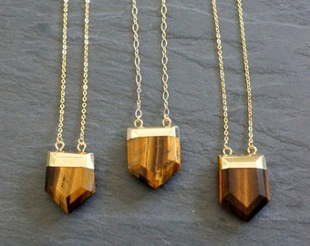 Tigers Eye Necklace / Gold Tigers Eye Necklace / Tiger's Eye Pendant / Tiger Eye Jewelry