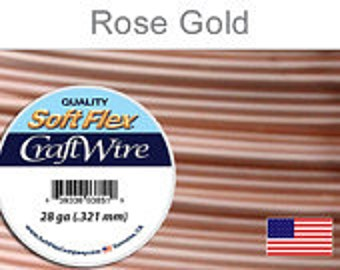 28 Gauge Rose Gold Silver Plated Wire, Soft Flex, Non Tarnish, Round, Supplies, Findings, Craft Wire
