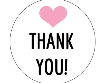 12 Pink Heart Thank You Stickers, Heart Theme, Birthday Stickers, Packaging Stickers, Thank You Labels, Heart Labels, First Birthday