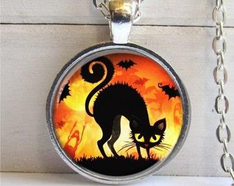 Halloween Necklace, Black Cat Halloween Pendant, Halloween Jewelry