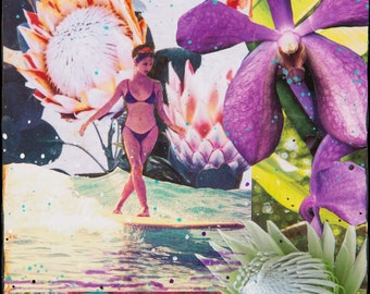 NEW! PROTEA JOSIE Sea Slide, 3 Sizes, 8x10, 11x14, 16x20, Hand Signed Matted Print, Surfing, Surf Art, サーフ, home decor, Orchids, wave, Surf,