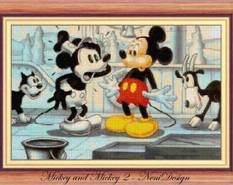 cross stitch pattern, cross stitch, Mickey and Mickey 2 - cross stitch pattern - PDF pattern - instant download!