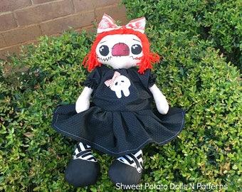 Handmade Skully Raggedy Annie Shweet Potato Doll Primitive  Halloween Gothic