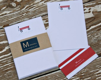 Personalized Note Cards - Set of 8 - Red Wagon