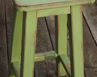 "wood bar stool/ Distressed/ bar stool/ counter stool/ painted/ green/ 25"" - 30"" H"