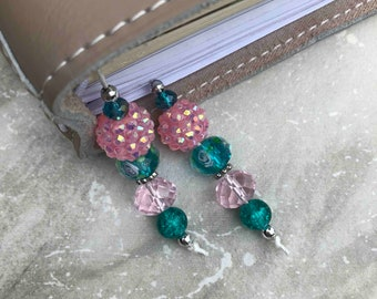 BEADED BOOKMARK for Travelers Notebooks | Planners | Journals | Books TEAL with pink and  silver accents