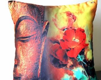 Buddha Throw Pillow, Buddha Satin Pillow Cover, Buddha, Decorative Cushion, Home Decor, Contemporary, 16x16 pillow, Asian Decor