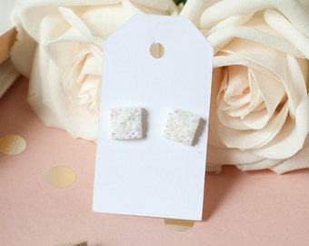 Druzy Square Earrings | Square Stud Earrings | White Square Faux Druzy Studs | Gifts for Her | Bridesmaid Gift |