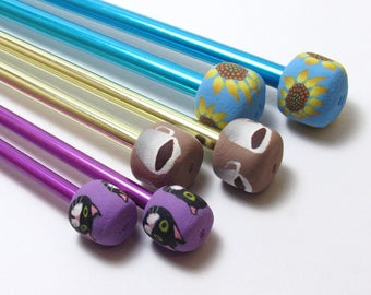 Metal Knitting Needles, Embellished Needles, Polymer Clay Cane, Handmade Knitting Supplies, Knitter Gift, Floral Animal or Coffee
