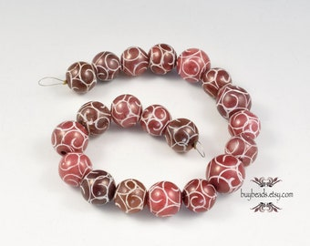 Red Etched Beads (20), 10mm, Stone