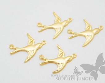 P156-MG// Matt Gold Plated Bird Pendant, 4pcs