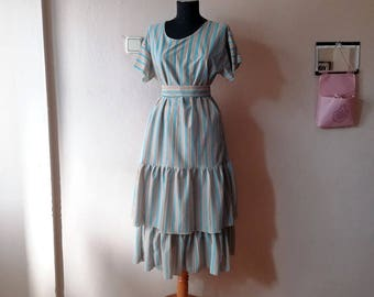 Striped Tiered Ruffle dress, Handmade casual dress for women size Medium to Large