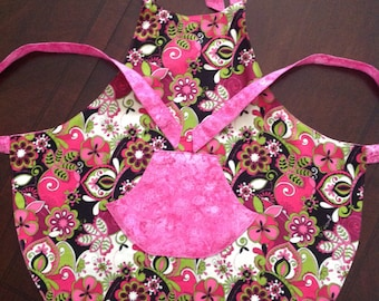 Reversible pink girls apron